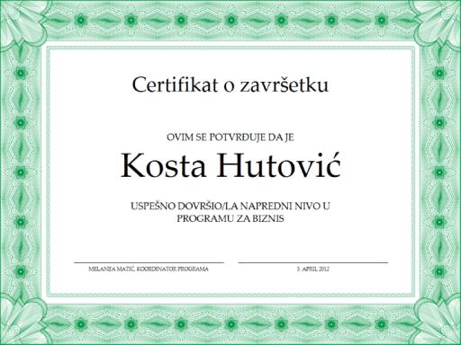 Certifikat o završetku (zeleni)