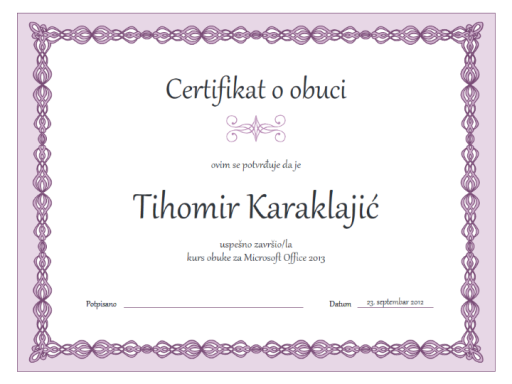 Certifikat o obuci (dizajn sa ljubičastim lancem)