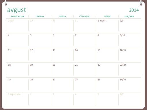 2014-2015 akademski kalendar (avgust – jul)