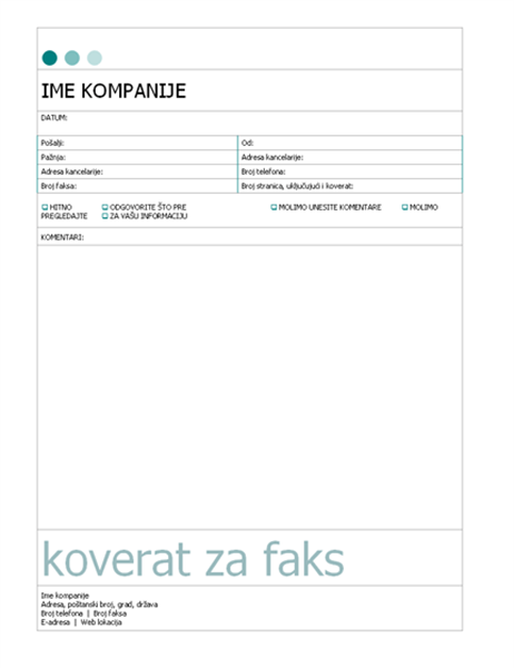 Naslovna strana faksa (tema sa tačkama)