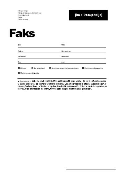 Naslovna stranica faksa (profesionalna tema)