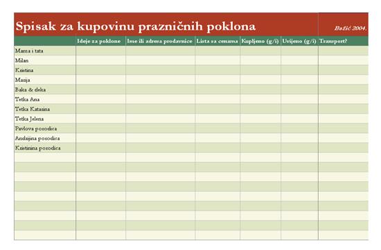 Spisak za kupovinu poklona