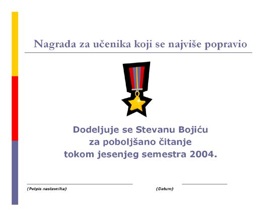 Nagrada za učenika koji se najviše popravio