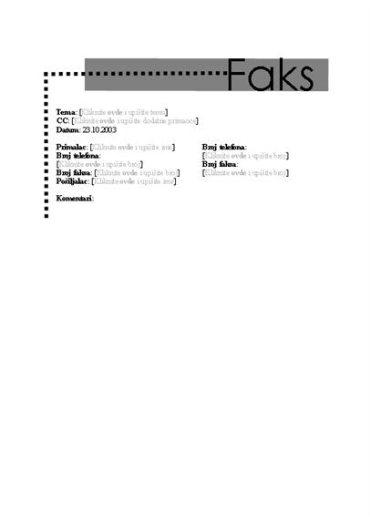 Naslovna stranica ličnog faksa