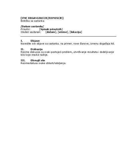 Beleške za sastanak organizacije (kraći oblik)