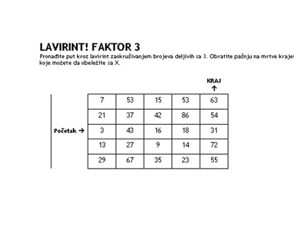 1. nivo lavirinta sa brojevima, faktor od 3