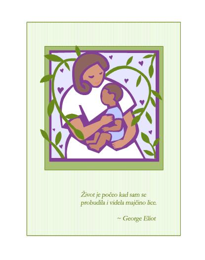 Razglednica za Dan majki (sa majkom i bebom)