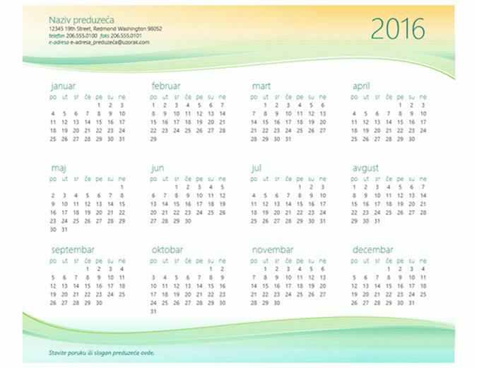 Kalendar za mala preduzeća (bilo koja godina)