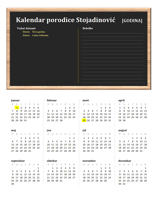 Porodični kalendar (bilo koja godina, pon-ned)
