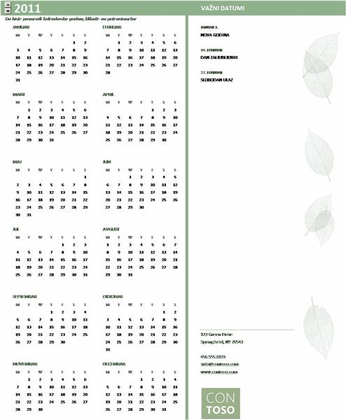 Kalendar za mala preduzeća (za bilo koju godinu, od ponedeljka do nedelje)