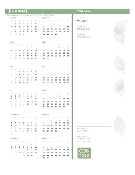 Kalendar za mala preduzeća (bilo koja godina, pon–ned)