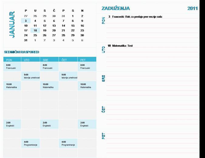 Studentski kalendar za sedmično planiranje (za bilo koju godinu, od ponedeljka do nedelje)