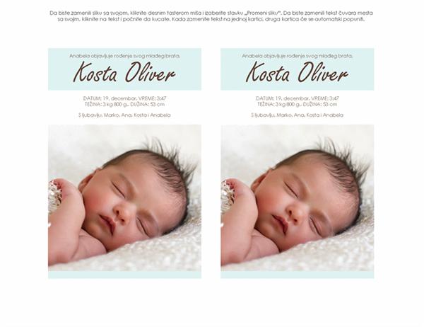 Obaveštenje o novorođenom dečaku