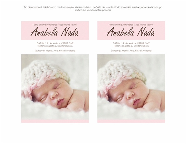 Obaveštenje o novorođenoj devojčici