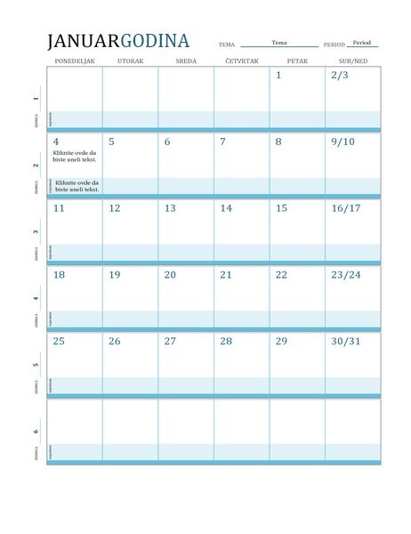 Kalendar plana lekcija