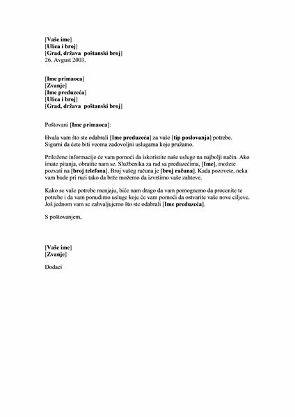 Uvodno pismo novom klijentu