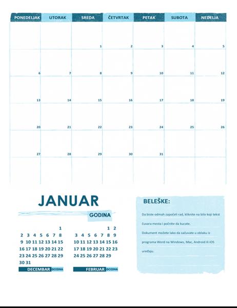 Akademski kalendar p-n (bilo koja godina)