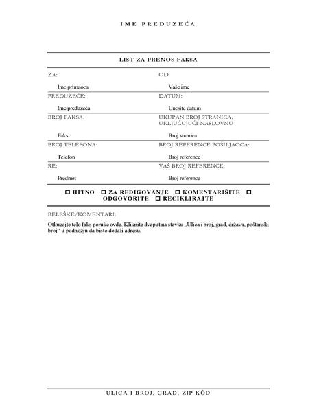 Naslovna stranica faksa (elegantna)