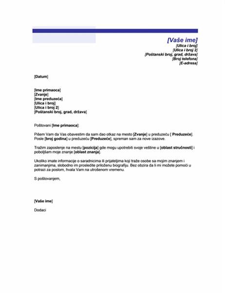 Pismo kojim objavljujete da tražite novi posao (tema sa plavom linijom)