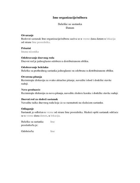 Beleške za sastanak organizacije (dugački obrazac)