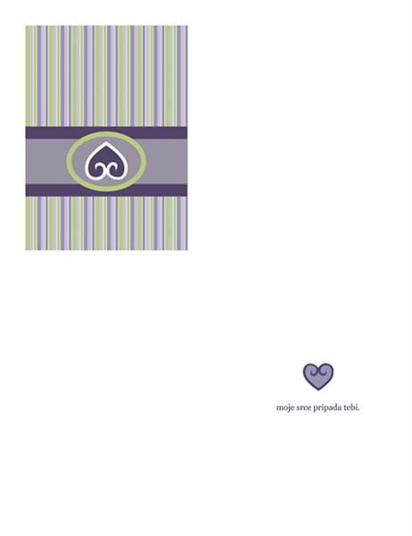 Ljubavna čestitka (tamnoljubičasti dizajn)