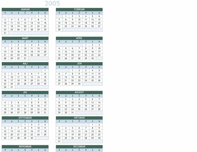 Godišnji kalendar za 2005 - 2014. (pon – ned)