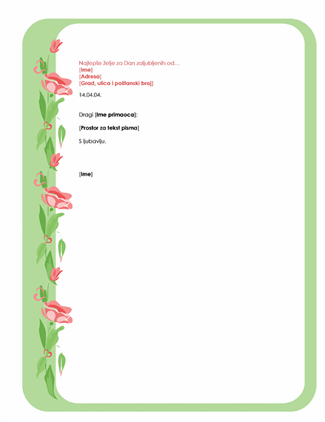 Podloga za pisanje pisama za Dan zaljubljenih