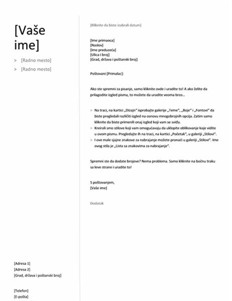 Propratno pismo za hronološku biografiju (jednostavan dizajn)