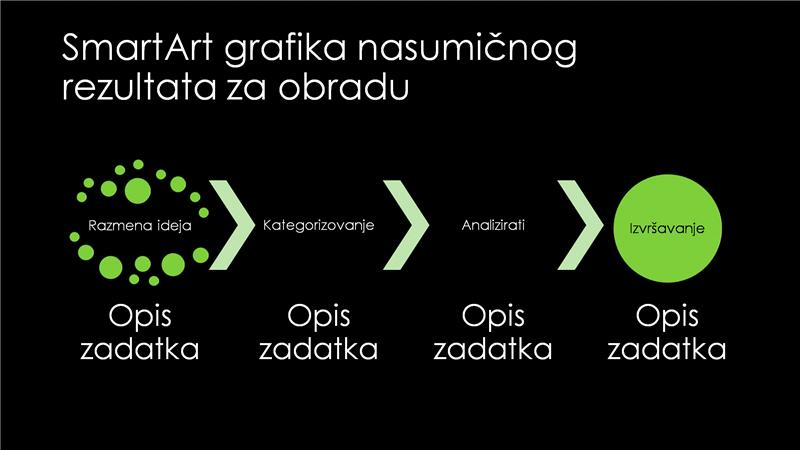 SmartArt slajd nasumičnog rezultata za obradu (zeleni na crnom), široki ekran