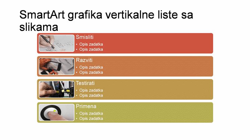 SmartArt slajd vertikalne liste sa slikama (višebojni na beloj), široki ekran
