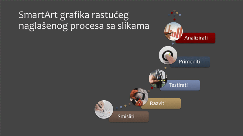 SmartArt grafika rastućeg naglašenog procesa sa slikama (šareno na sivom), široki ekran
