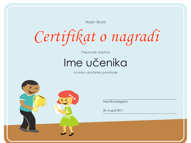 Certifikat o nagradi (za učenike osnovne škole)