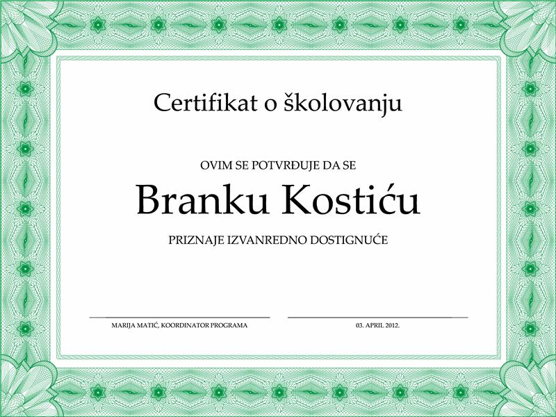 Certifikat o školovanju (formalna zelena ivica)