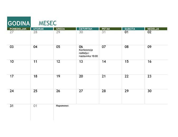 Akademski kalendar (bilo koja godina)