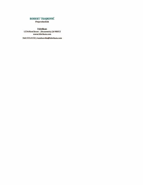 Vizitkarte, horizontalni raspored, bez logotipa, ime ispisano velikim slovima