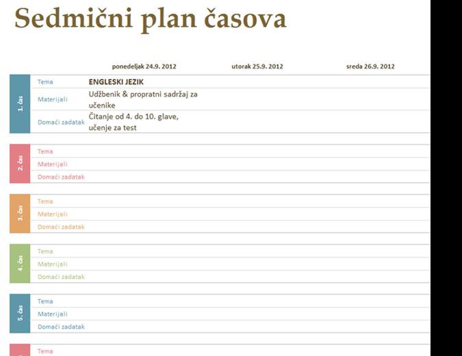 Sedmični akademski plan časova