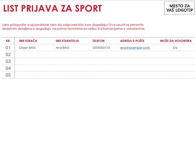 List prijava za sport
