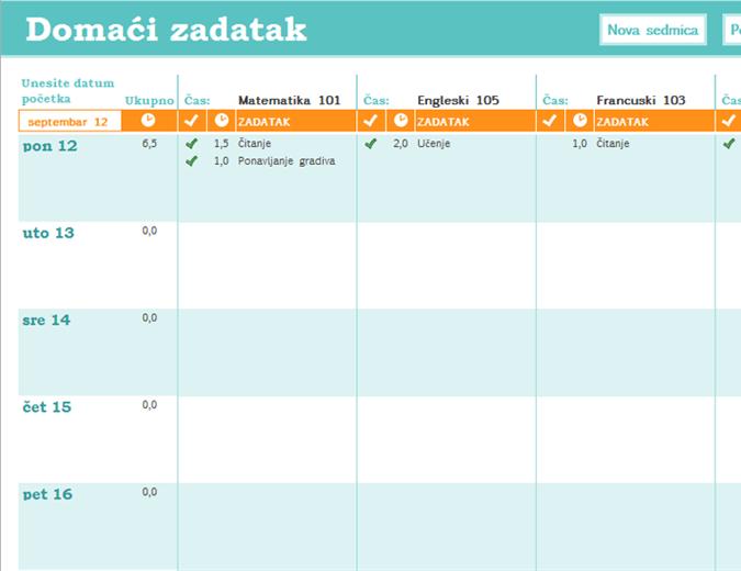 Raspored za domaće zadatke