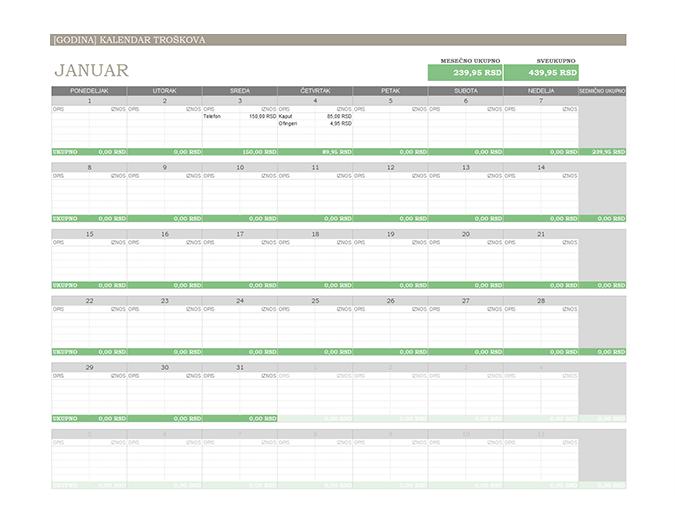 Kalendar troškova za bilo koju godinu