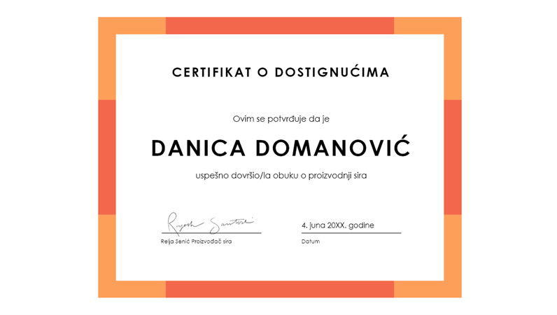 Certifikat o dostignuću (plavi)