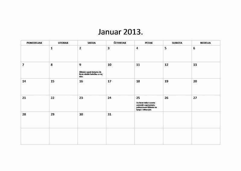 Osnovni kalendar za 2013. (P-N)