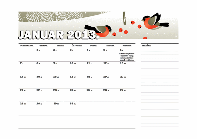 Julijanski kalendar za 2013. (P-N)