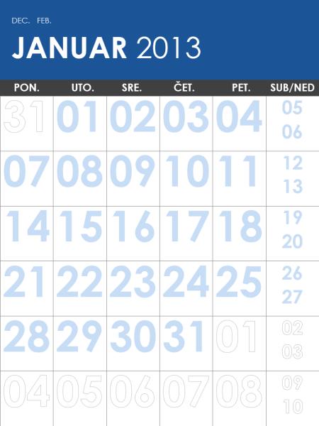 Kalendar za 2013-2014. u više boja (P-Ned)