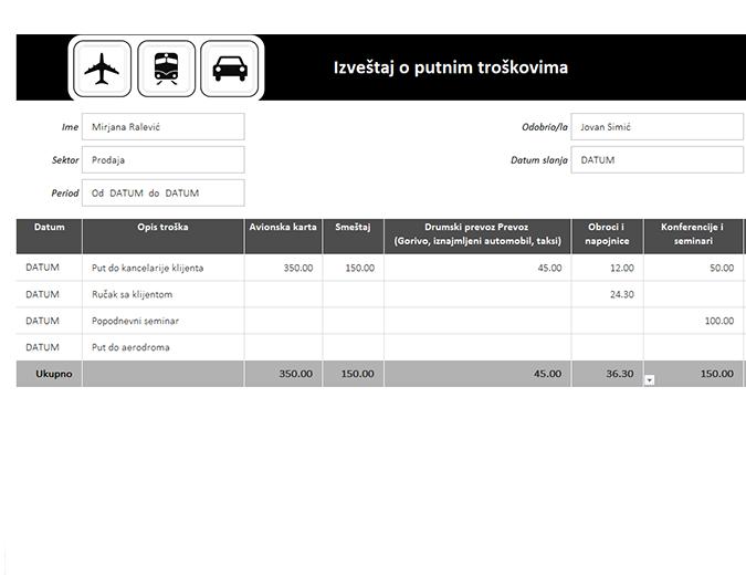 Izveštaj o putnim troškovima sa evidencijom pređene kilometraže