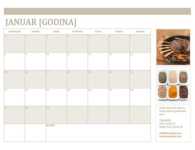 Kalendar sa fotografijama (pon)
