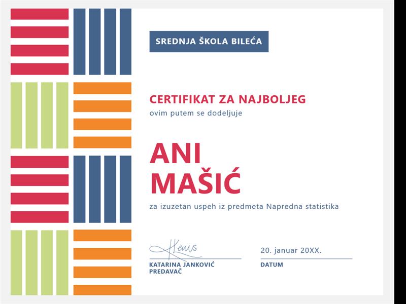 Certifikat za najboljeg studenta