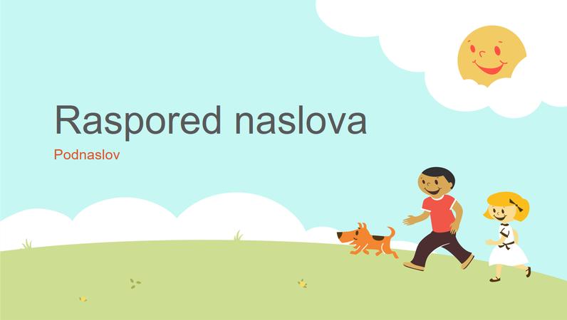 Dizajn prezentacije obrazovanja sa decom koja se igraju (strip ilustracija, široki ekran)