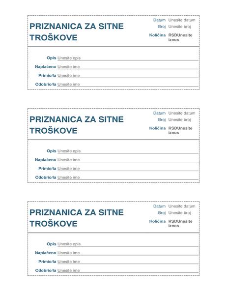 Priznanica za sitne troškove (3 na stranici)