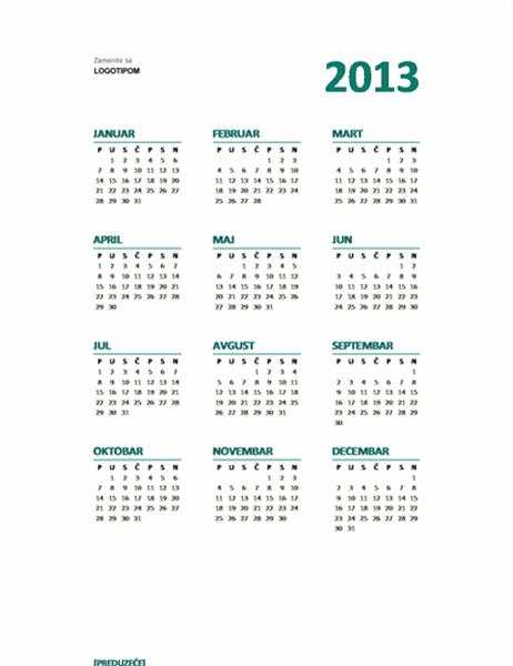 """Kalendar tipa """"Pogled na godinu"""" za godinu 2013. (u M-S formatu)"""
