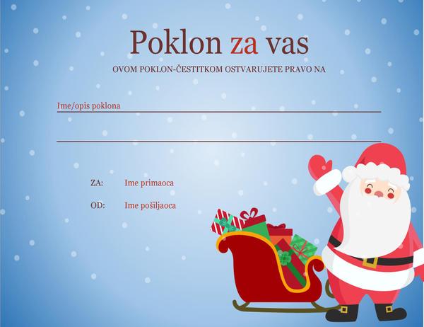 Vaučer za božićni poklon (dizajn u božićnom duhu)